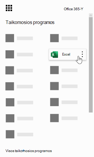 """Office 365"" programų vykdyklė su pažymėta ""Excel"" programa"