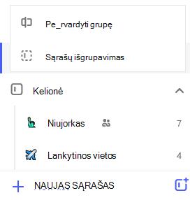 Sąrašo grupės redagavimo meniu atidaryti su parinktimi Pervardyti grupę arba išgrupuoti sąrašus ekrano nuotrauka.