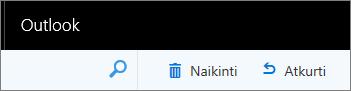 """Ekrano nuotrauka rodo parinktis Naikinti ir Atkurti žiniatinklio """"Outlook"""" įrankių juostoje."""