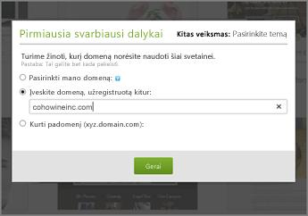 """""""GoDaddy"""" pirmiausia įveskite domeną, užregistruotą kitoje vietoje"""