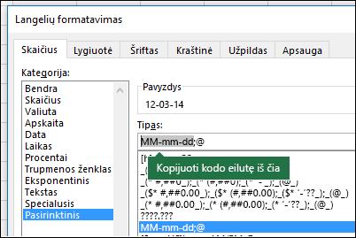 """Pavyzdys, kaip naudojant dialogo langą Formatas > Langeliai > Skaičius > Pasirinktinis """"Excel"""" gali už jus sukurti formato eilutes."""