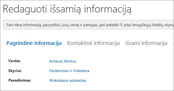 """Ekrano nuotrauka """"Yammer"""" vartotoją redaguoti išsamios informacijos puslapyje."""