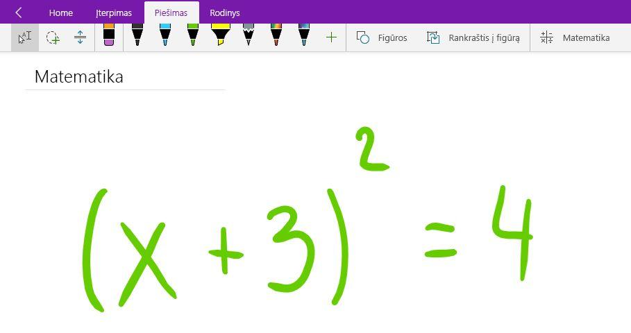 """""""Windows 10"""" """"OneNote"""" rašyti matematinę lygtį"""