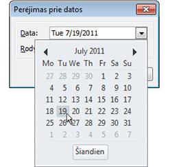 Pereikite prie datos dialogo langas su datų naršyklė