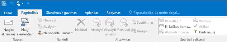 """Štai, kaip atrodo juostelė programoje """"Outlook 2016""""."""
