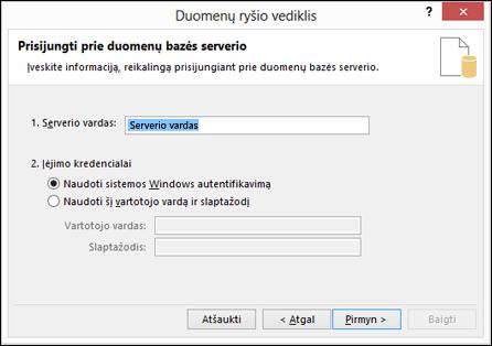 Duomenų ryšio vedlys > jungtis prie serverio