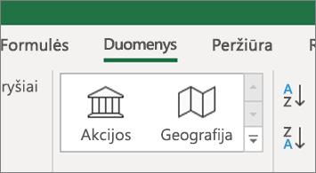 Skirtukas duomenys, rodantis išteklių ir geografijos duomenų tipus