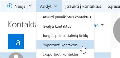 Ekrano kopija, kurioje matyti mygtukas Importuoti kontaktus.