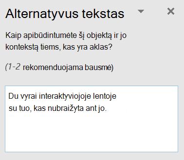Alternatyvusis tekstas dialogo langas Outlook.
