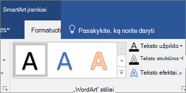 Spustelėkite teksto užpildas arba teksto efektai