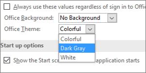 """""""Office"""" temos išskleidimo meniu, spalvotų, tamsiai pilkų ir baltų temų parinktys"""