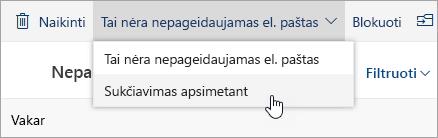Sukčiavimo apsimetant mygtuko ne nepageidaujamo el. pašto išplečiamajame meniu ekrano nuotrauka