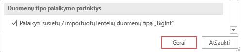 """Ekrano nuotrauka palaikymo bigint įvesti susieti importuotų lentelių pasirinktį programoje """"Access"""" parinktys."""