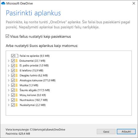 "Sinchronizuoti failus iš ""OneDrive"""
