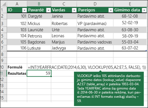 4 pavyzdys VLOOKUP