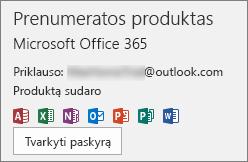 """Rodoma su """"Office"""" susieta el. pašto paskyra"""