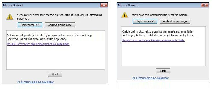 """Klaidos pranešimas apie įdėtąjį objektą ir """"ActiveX"""" valdiklį"""