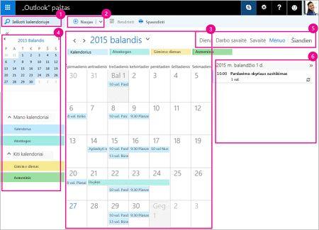 Savo susitikimus ir kitus įvykius tvarkykite naudodami kalendorių.