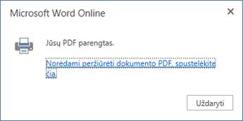 """""""Word Online"""" spausdinimo dialogo langas"""