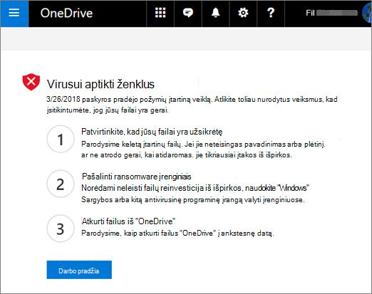 """Ekrano nuotrauka ransomware ženklus aptikti ekrano """"OneDrive"""" žiniatinklio svetainėje"""