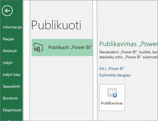 """Publikavimo skirtukas programoje """"Excel 2016"""", kuriame matomas mygtukas Publikuoti """"Power BI"""""""