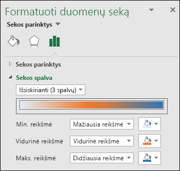 """""""Excel"""" žemėlapio diagramos sekos spalvų parinktys"""