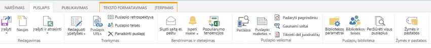 Skirtuko Puslapis, kuriame yra daug publikavimo puslapių redagavimo, įrašymo, padėjimo ir paėmimo mygtukų, ekrano nuotrauka