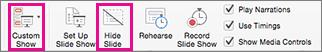 Pasirinkite Slėpti skaidrę arba Pasirinktinis demonstravimas, kad įrašytumėte skaidrių rinkinio dalį.
