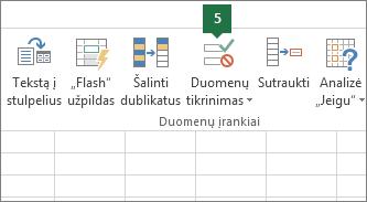 """Patikrinkite išplečiamąjį sąrašą spustelėdami Duomenys > Duomenų tikrinimas programoje """"Excel"""""""