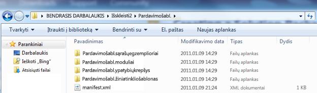 """""""Windows Explorer"""" ekrano nuotrauka, rodanti išskleistą žiniatinklio sprendimų paketą (.wsp)."""