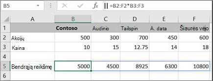 Masyvo formulės, kuri apskaičiuoja kelis rezultatus, pavyzdys