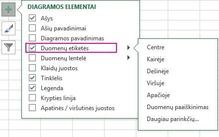 Duomenų žymų parinktys dalyje Diagramos elementai