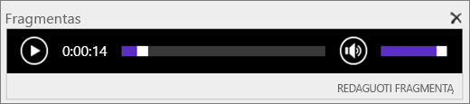 Ekrano SharePoint Online garsu fragmentą kontroliuoti juosta, rodanti viso trukmę garso failas, ir teikia valdymo paleidimas ir sustabdymas leisti failo.