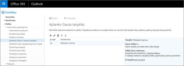 """Rodoma """"Office 365"""" pašto Parinkčių dalyje esanti Gautųjų taisyklių sritis ir taisyklių valymo parinktis. Norėdami sutvarkyti el. paštą, galite kurti, redaguoti ir naikinti Gautųjų taisykles."""