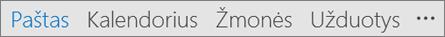 """""""Outlook"""" Sparčiosios prieigos juosta, rodanti, pavadinimą, pašto, kalendoriaus, žmonių ir užduočių mygtukai ir daugiau (trys taškai arba daugtaškį) parinktys"""