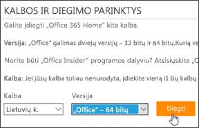 Kalbos ir versijos parinkčių ir mygtuko Diegti ekrano kopija