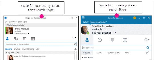 """""""Skype"""" verslui kontaktų puslapio ir """"Skype"""" verslui (""""Lync"""") puslapio palyginimas greta vienas kito"""