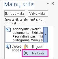 """Elemento naikinimas iš """"Word 2013"""" mainų srities"""
