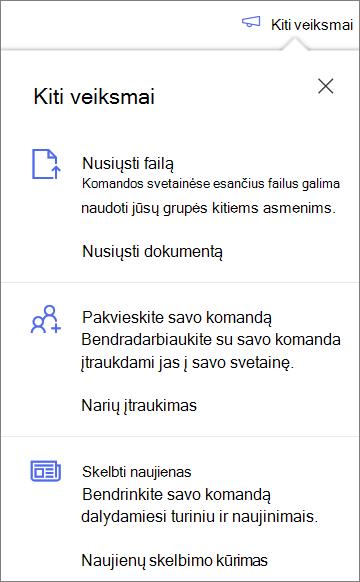"""Kitų veiksmų sritis sukūrus naują bendrinamą biblioteką """"OneDrive"""" verslui"""