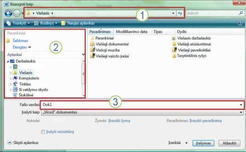 """""""Windows Vista"""" ir """"Windows 7"""" dialogo langas """"Įrašyti kaip"""""""