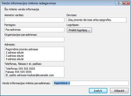 """""""Publisher 2010"""" naują verslo informacijos rinkinio kūrimas"""