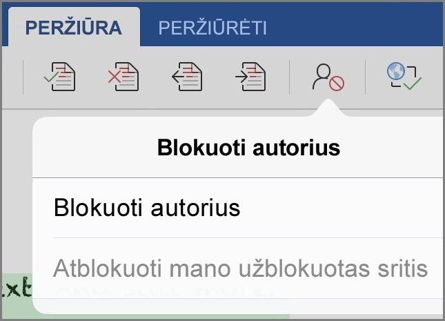 Dialogo langas Blokuoti autorius
