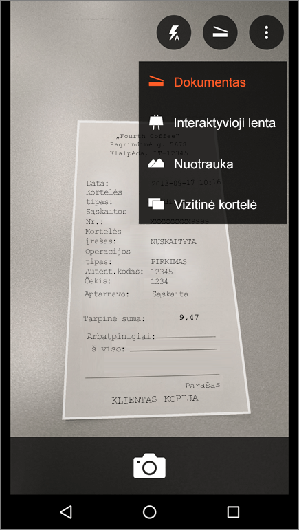 """Ekrano nuotrauka, kaip užfiksuoti vaizdą """"Office Lens"""", skirtoje """"Android""""."""