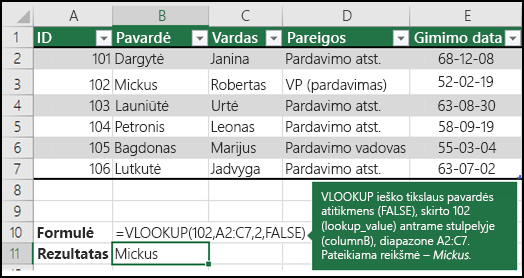 2 pavyzdys VLOOKUP