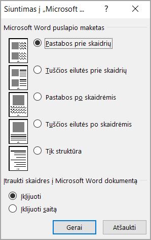 Microsoft Word langelį Siųsti