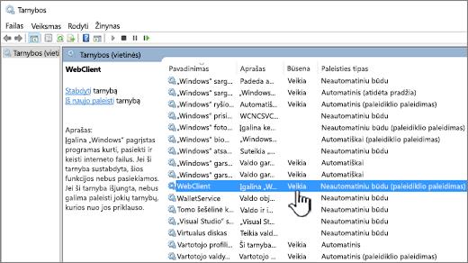 """""""Windows"""" paslaugos dialogo langas su paryškintu WebClient"""