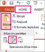 Meniu Įklijuoti pasirinkite piktogramą Išlaikyti šaltinio formatavimą.