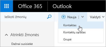 """Mygtuko """"Naujas"""" kontekstinio meniu ekrano nuotrauka su pažymėta parinktimi """"Kontaktas""""."""