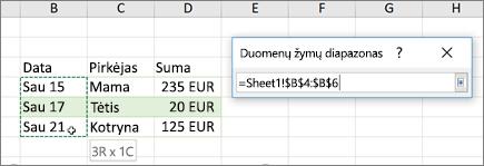 Dialogo langas duomenų žymų intervalas