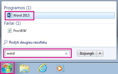 """Ieškokite """"Office"""" programų """"Windows 7"""""""